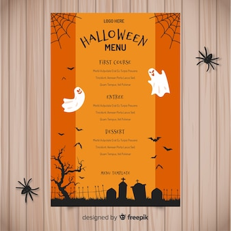 Modèle de menu halloween dessiné main coloré