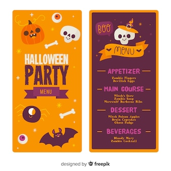 Modèle de menu halloween dessiné à la main