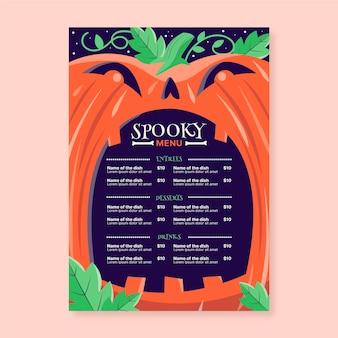 Modèle de menu halloween dessiné à la main