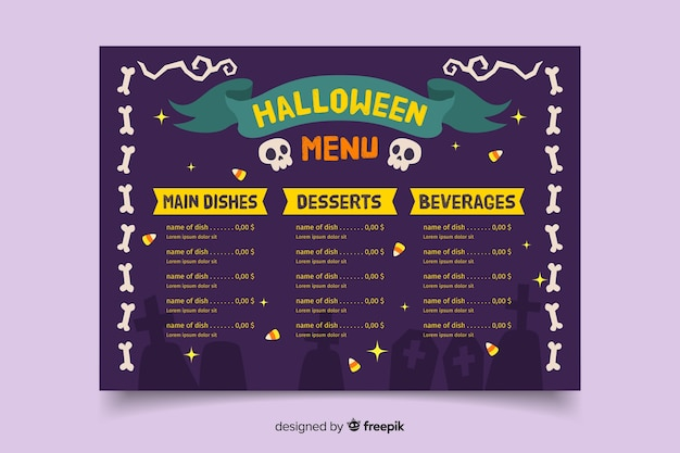 Modèle de menu halloween effrayant dessinés à la main
