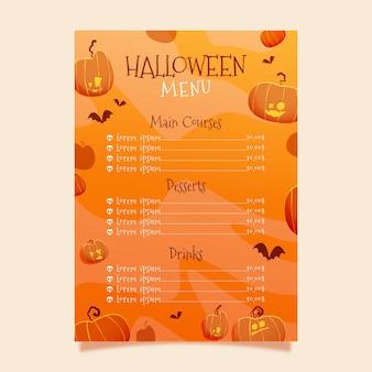 Modèle de menu halloween effrayant