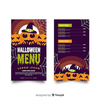 Modèle de menu halloween plat avec citrouilles