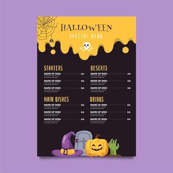 Modèle de menu halloween plat dessiné à la main