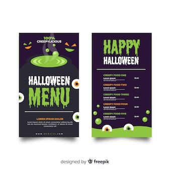 Modèle de menu halloween plat avec melting pot