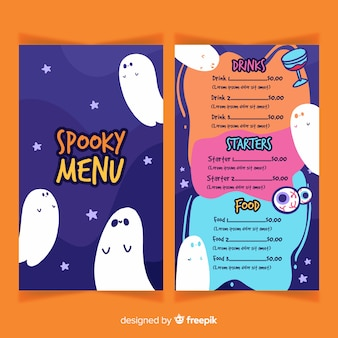 Modèle de menu halloween plat