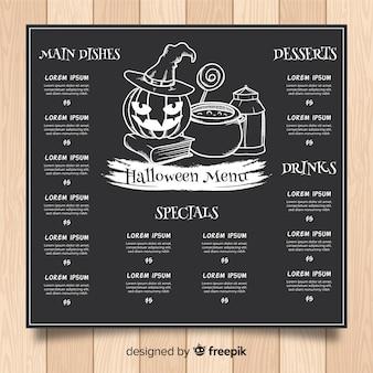Modèle de menu halloween style dessiné à la main