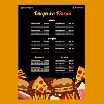 Modèle de menu hamburgers et pizzas
