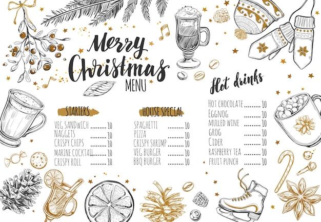 Modèle de menu d'hiver festif joyeux noël.