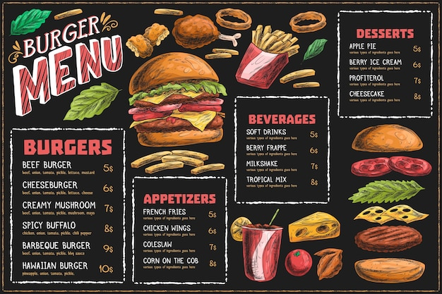 Modèle de menu horizontal avec hamburger et frites