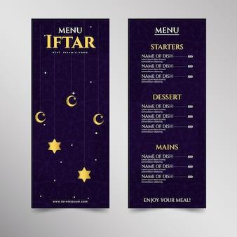 Modèle de menu iftar plat