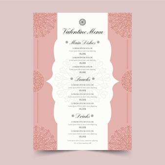 Modèle de menu d'illustration de la saint-valentin