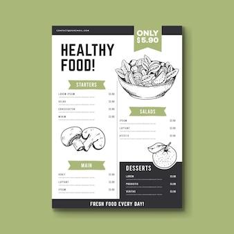 Modèle de menu illustré dessiné à la main