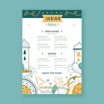 Modèle de menu indien créatif dessiné à la main