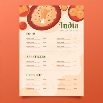 Modèle de menu indien design plat