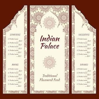 Modèle de menu indien dessiné à la main
