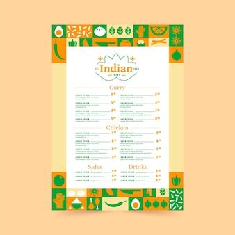 Modèle de menu indien plat créatif