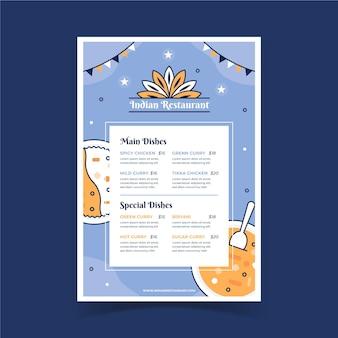 Modèle de menu indien plat