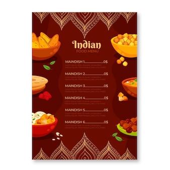 Modèle de menu indien traditionnel