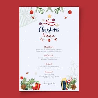 Modèle de menu joyeux noël et bonnes vacances