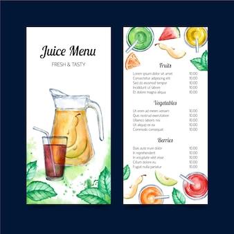 Modèle de menu de jus de fruits frais