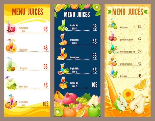 Modèle de menu de jus de fruits naturels colorés