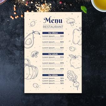 Modèle de menu de légumes dessinés à la main