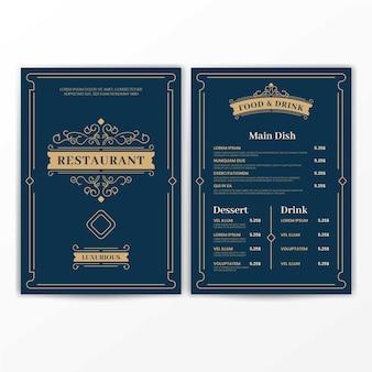 Modèle de menu de luxe vintage