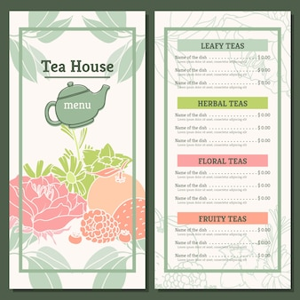 Modèle de menu de maison de thé