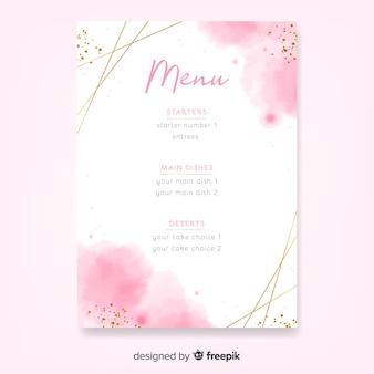 Modèle de menu de mariage aquarelle avec cadre