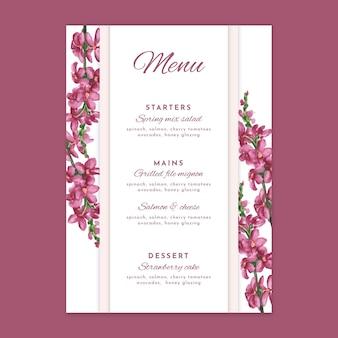 Modèle de menu de mariage design floral