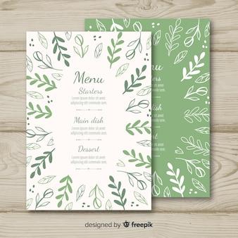Modèle de menu de mariage dessiné à la main
