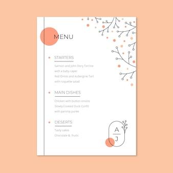 Modèle de menu de mariage élégant