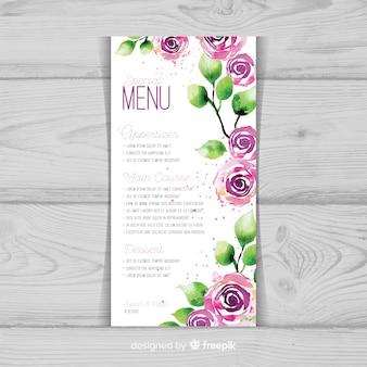 Modèle de menu de mariage floral aquarelle