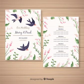 Modèle de menu de mariage floral dessiné à la main