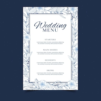 Modèle de menu de mariage floral