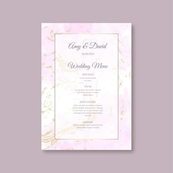 Modèle de menu de mariage minimal