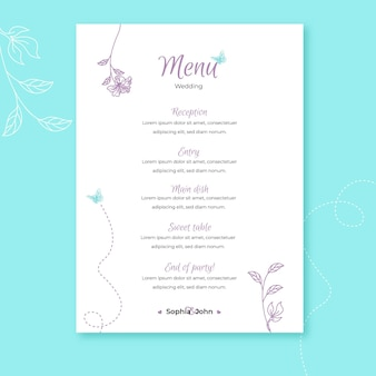 Modèle de menu de mariage avec ornements floraux
