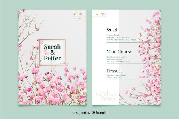 Modèle de menu de mariage avec photo