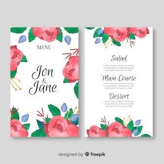 Modèle de menu de mariage de style aquarelle