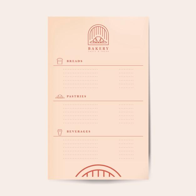 Modèle de menu de menu de pâtisseries et boissons