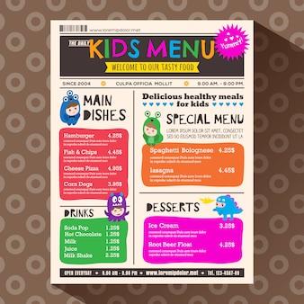 Modèle de menu mignon coloré enfants dynamiques dans le style de journal
