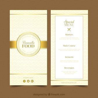 Modèle de menu moderne avec style doré