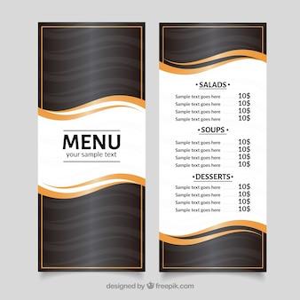 Modèle de menu moderne avec des vagues d'or