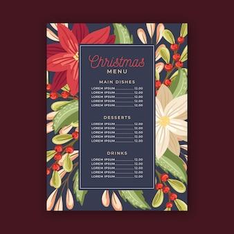 Modèle de menu de noël au design plat