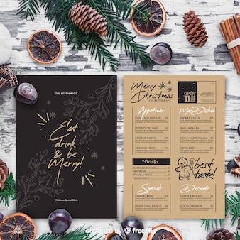 Modèle de menu de noël dans un style vintage