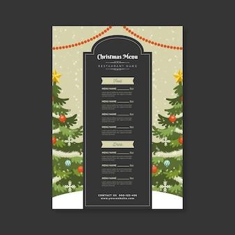 Modèle de menu de noël design plat