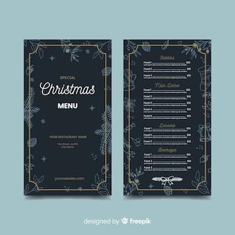 Modèle de menu de noël dessiné main sombre