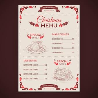 Modèle de menu de noël dessiné à la main