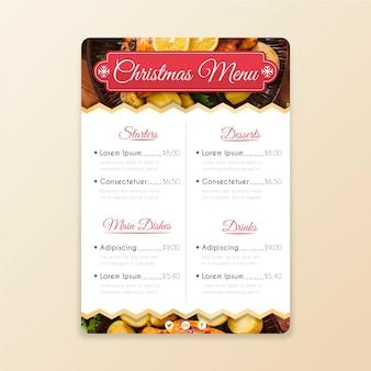 Modèle de menu de noël avec image