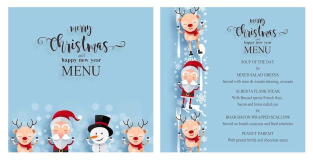 Modèle de menu de noël avec des personnages mignons. père noël, bonhomme de neige et renne